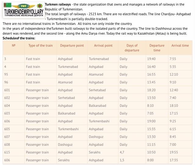 Turkmenistan Railway Schedule